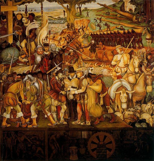 Diego rivera la colonizaci n o llegada de hern n cort s a for Un mural de diego rivera