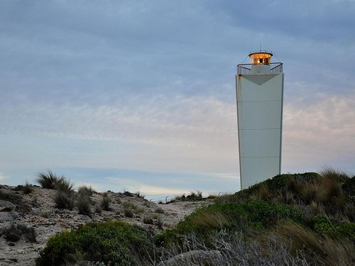 The Robe Lighthouse (Australia) is a star-shaped concrete tower which was built in 1972. It is 3.5 metres wide at the bottom, and slants towards 5 metres wide at the top.  It was built to replace the now defunct Cape Jaffa Lighthouse near Kingston.