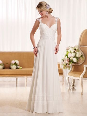 Sheath Straps Beach Wedding Dress with Lace Illusion Back