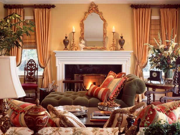 Chaise in front of fireplace