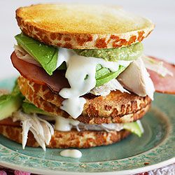 Toasted tiger bread with bacon, barbecued chicken, sliced avocado, guacamole and ranch dressing: Chicken Bacon, Food, Alluring Sandwiches, Toasted Tiger, Chicken Breast