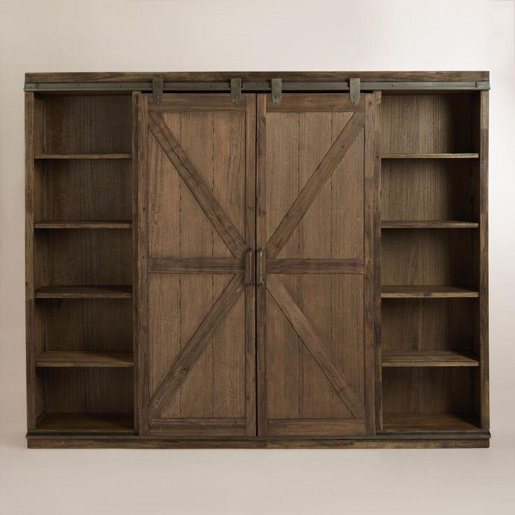 Wood Farmhouse Barn Door Bookcase Barn Doors Metal