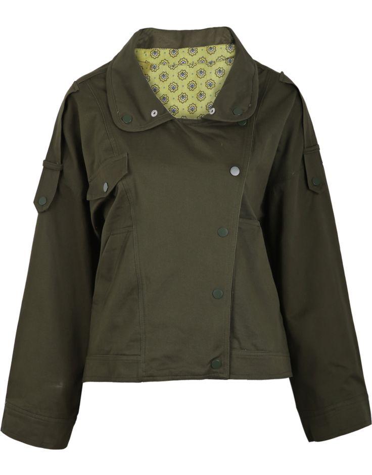 Green Lapel Long Sleeve Pockets Crop Coat - Sheinside.com