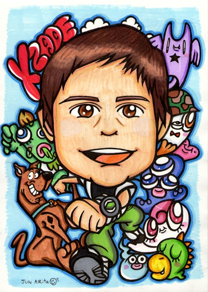 For Xzade in New Zealand / Hand Drawing Portrait A4 size - 手書き似顔絵 A4サイズ  Thank you for ordering A4 size hand drawing portrait (color pens)  He likes Scooby Doo, zombie, vampire, monsters and Ben 10 so he is wearing Ben's costume;)   Hope he likes it!
