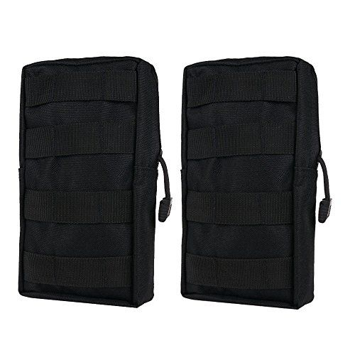 MOLLE Pouches - Compact Water-resistant Multi-purpose Tactical EDC Utility Gadget Gear Hanging waist Bags(Vertical Rectangle Pouch ,2 pack of Black) *** Check out this great product.