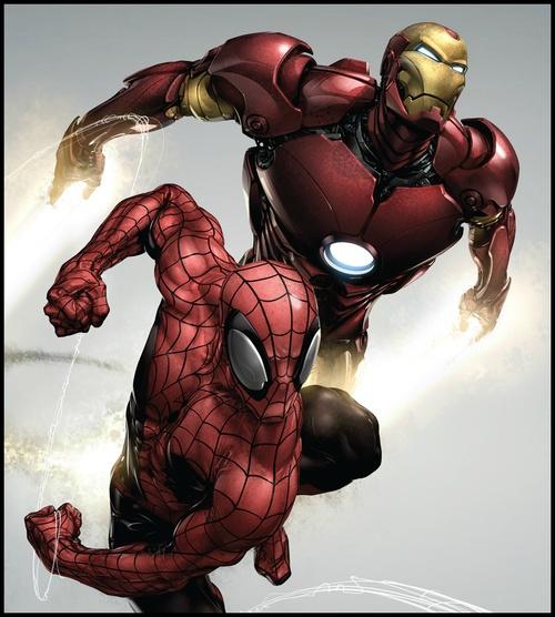 Spider-Man and Iron Man by Clayton Crain