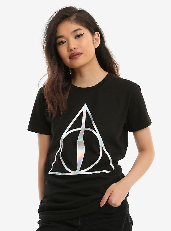 45ed4ed16a6 Harry Potter Deathly Hallows Holographic Foil Girls T-Shirt ...