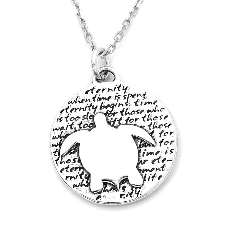 Turtle (Eternity quote) Sterling Silver Large Pendant Necklace (Chain Length Option)