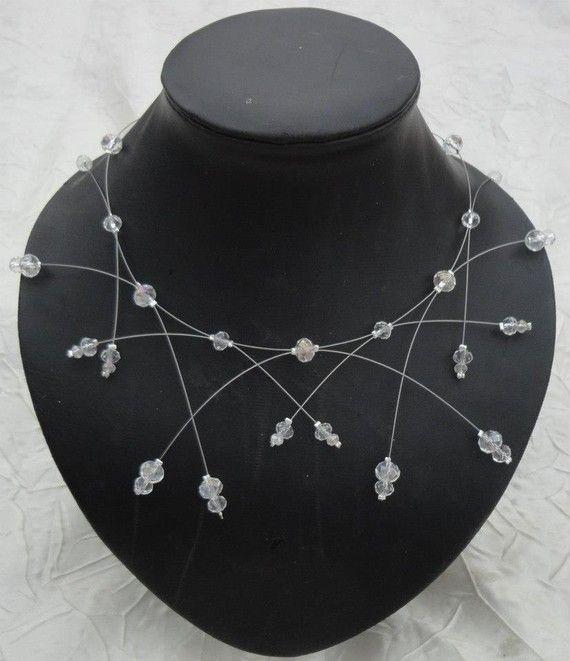 Parure mariage perles de crystal mariée soirée collier + bracelet