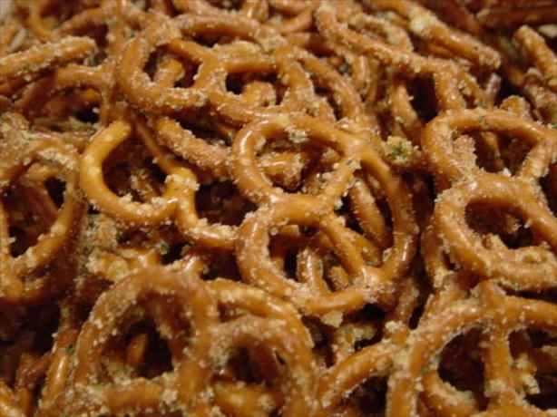 Spicy Pretzels.  These are like crack!   1 1/2 bags of the Rold Gold Brand.  My recipe calls for 1 cup oil, 1 pkg Hidden Valley Ranch Mix, 1 tsp cayenne, 1 tsp garlic salt- Mix, pour over pretzels, stir Bake at 200 for 2 hrs. Stir every 30 minutes.  These are spicy and amazing!