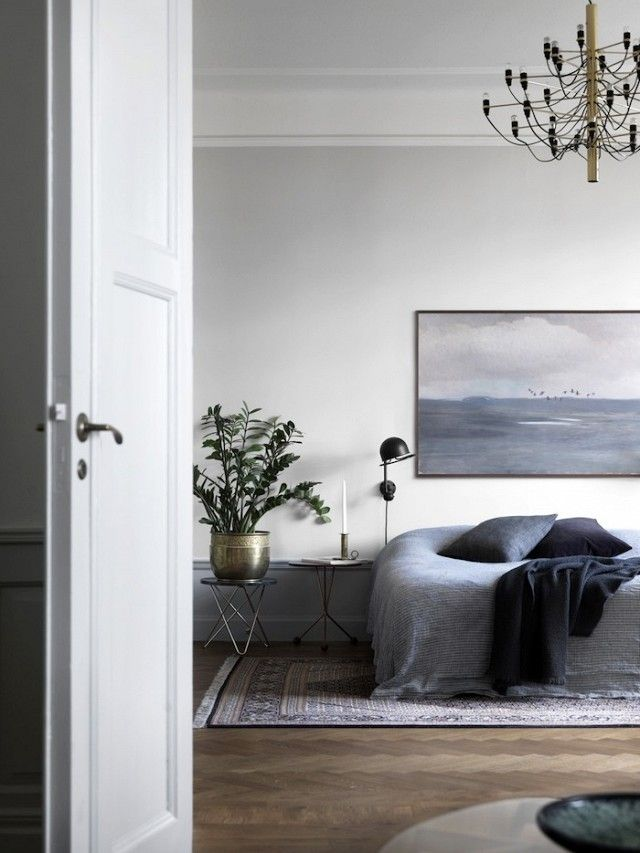 Tour a Moody, Gray Stockholm Apartment With Period Details | MyDomaine