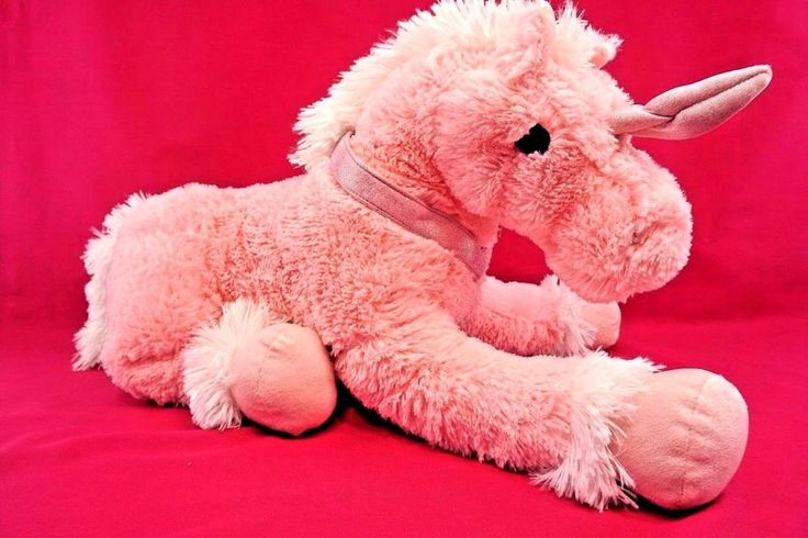 NEW GIANT PINK & WHITE LARGE FLUFFY UNICORN  SUPPER SOFT PLUSH TOY 70cm BY 50cm