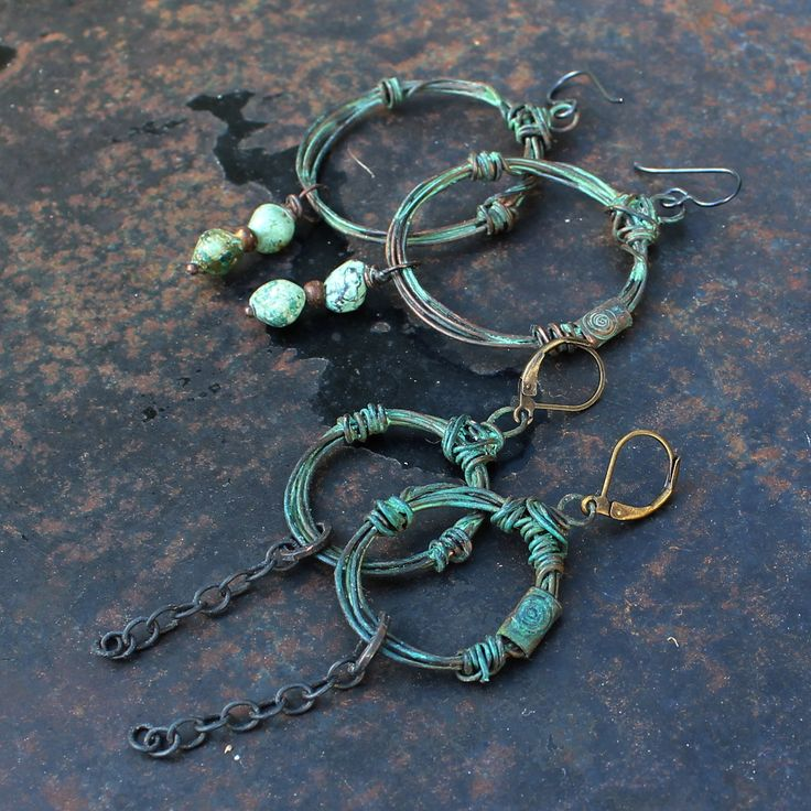 Antiqued earrings wrapped out of copper wire