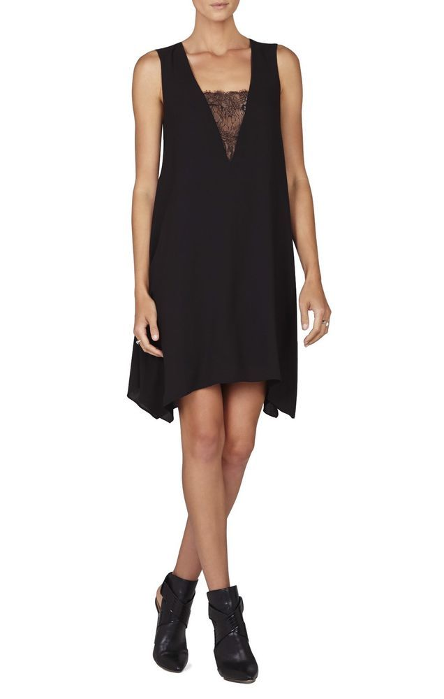 885d33f28b NWT $198 BCBG MAXAZRIA Black ALIE SLEEVELESS A-LINE LACE-INSERT DRESS New  Small | eBay