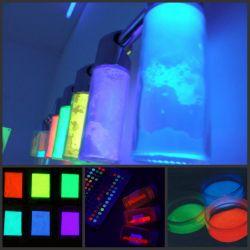 """2т/50гр Пигменты """"невидимые"""" - белые (белесые) при обычном свете и яркие зеленые, красные, желтые, синие в ультрафиолетовом свете - Люминофор.Ру: производится светящаяся краска, флуоресцентная краска, люминесцентная краска, люминофор, уф лампа (uv лампа) флюр"""