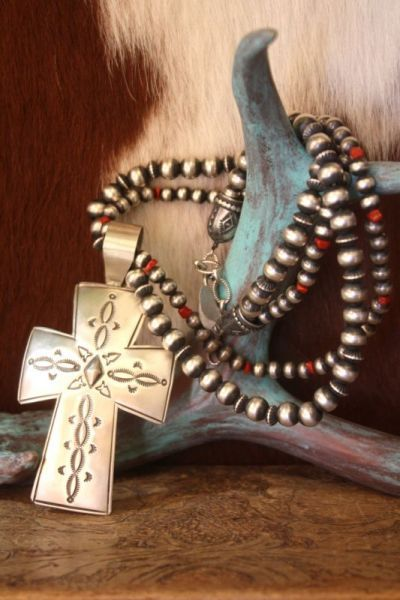 Navajo Gothic Cross on a Bench Bead necklace from Cowgirl Kim