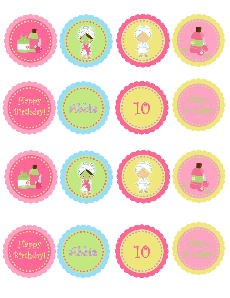 Spa Birthday Party Cupcake Toppers by TheButterflyPress on Etsy
