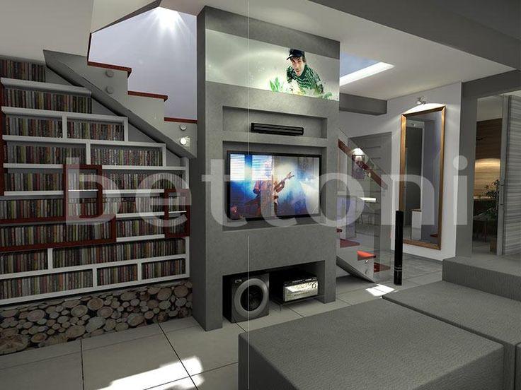 Ściana pokryta betonem architektonicznym, w której wykonano wnęki na telewizor i sprzęt elektroniczny.