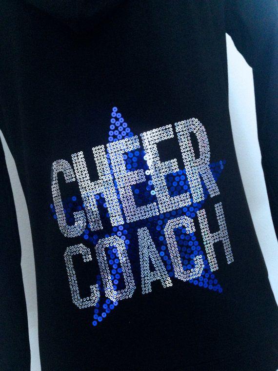 Cheer Coach Blue & Silver Sequin Hoodie Zipup Jacket by Bowfriendz, $31.99