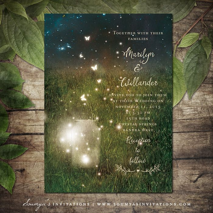 Rustic Garden Lights Wedding Invitation, Enchanted Forest Wedding, Enchanted Forest Invitation, Fireflies Mason Jar Invitation, Summer Wedding, Printable Wedding Invitation by Soumya's Invitations
