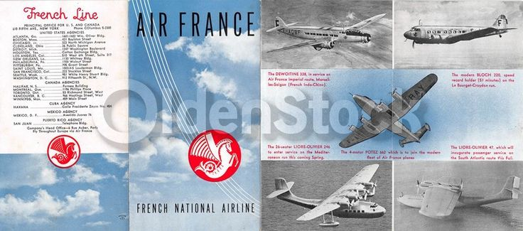 Air France French Line Vintage Graphic Advertising Air Travel Flyer