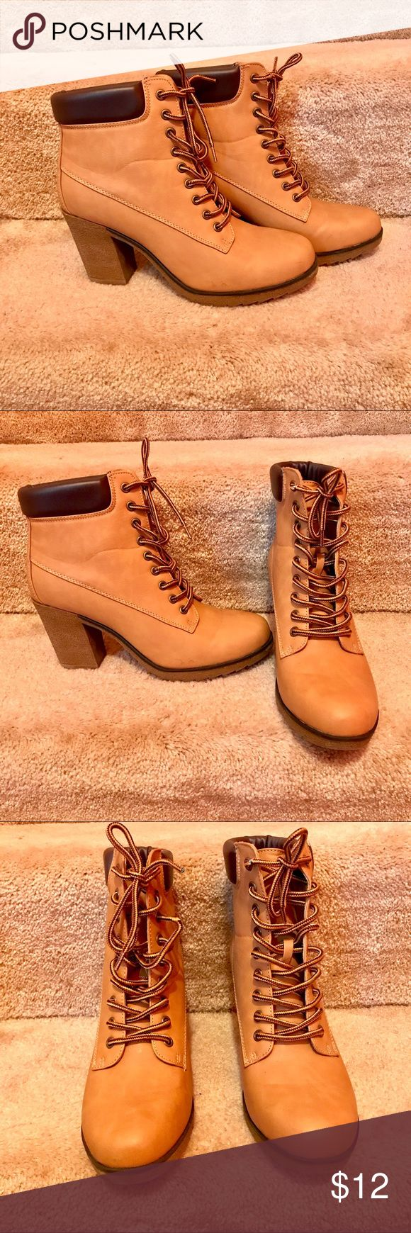 Women's Wheat Heeled Boots These fashionable and super comfortable heeled wheat boots are perfect all year round! Rock them with some long tapered or skinny legged pants or throw them on with some denim shorts. You can't go wrong!*Only worn twice!* Manic Shoes Lace Up Boots