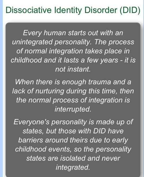 a description of the dissociative identity disorder and its manifestation Its estimated that 2% of people experience dissociative disorders, with  often  these identities may have unique names, characteristics, mannerisms and voices.