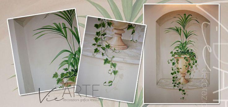 Vie d'Arte di Viera Danielli. Trompe l'oeil. Finta nicchia con vaso. Acrilico su muro / Faux niche with vase. Acrylic on wall.
