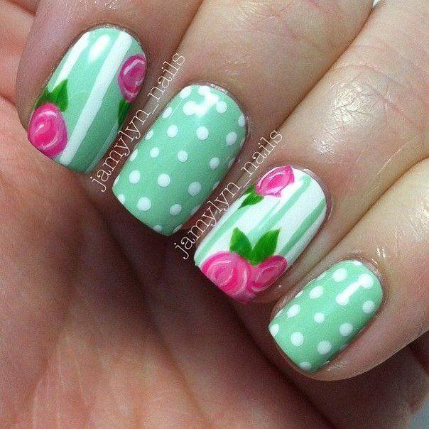 Beautiful nails 2016, Beautiful summer nails, Bright summer nails, Manicure by summer dress, Mint and white nails, Nails under mint dress, Nails under turquoise dress, Polka dot nails