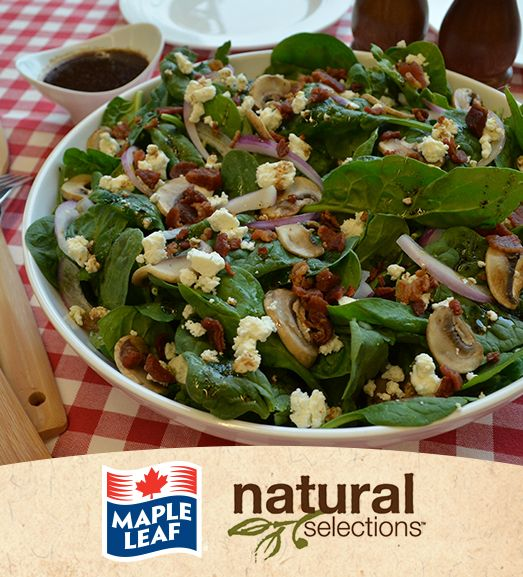 Warm Spinach and Bacon Salad #NaturalSelections @MapleLeafFoods