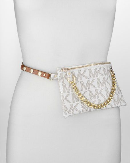 91f0378c49ff12 MICHAEL Michael Kors Logo-Embossed MK VANILLA Fanny Pack With Chain Size  Large #MichaelKors #BeltBag
