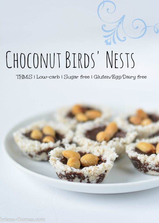 Choconut (Chocolate Coconut) Birds' Nests {THM:S, Low-carb, Sugar free, Gluten, Egg, and Dairy free}