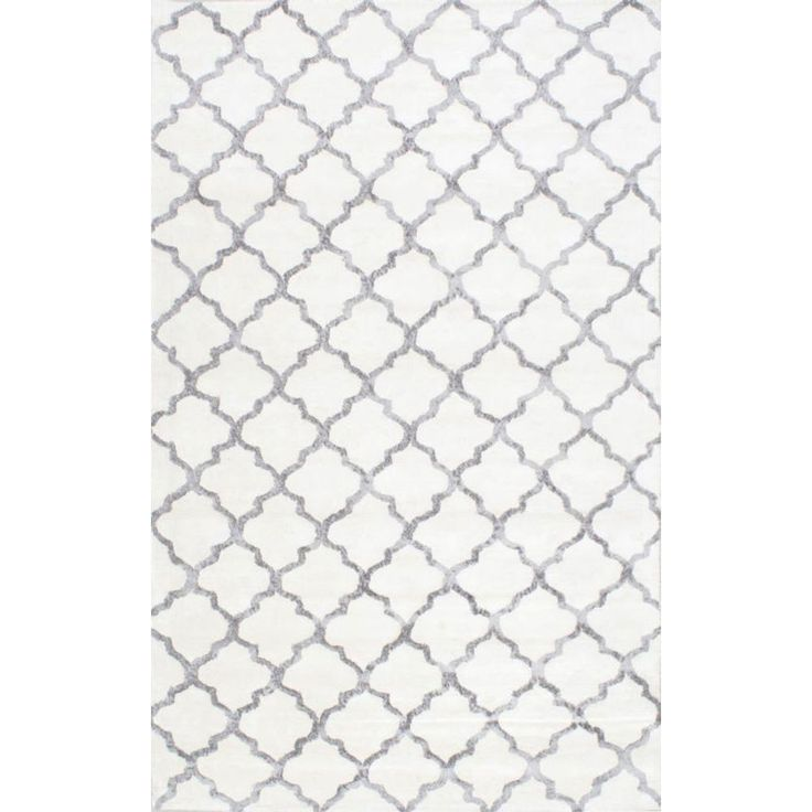 Woolen Hand Tufted Handcrafted Abstract design, White Rug