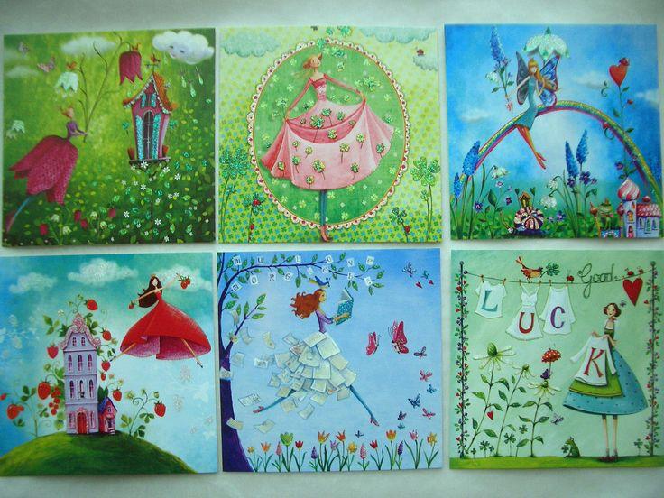 MILA MARQUÉS * Postkarte * Glitzereffekt * Blumenmädchen * 14x14cm de.picclick.com
