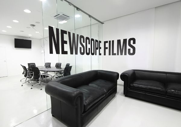 Interior logo decal inspired by large-scale, three dimensional type heritage within film and cinema. Designed by Karoshi for independent, UK-based feature film and TV production studio Newscope Film.