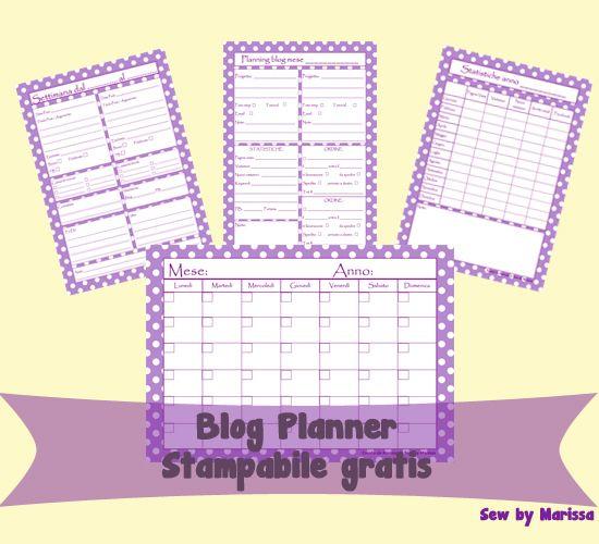 Planning blog - Set stampabile gratis