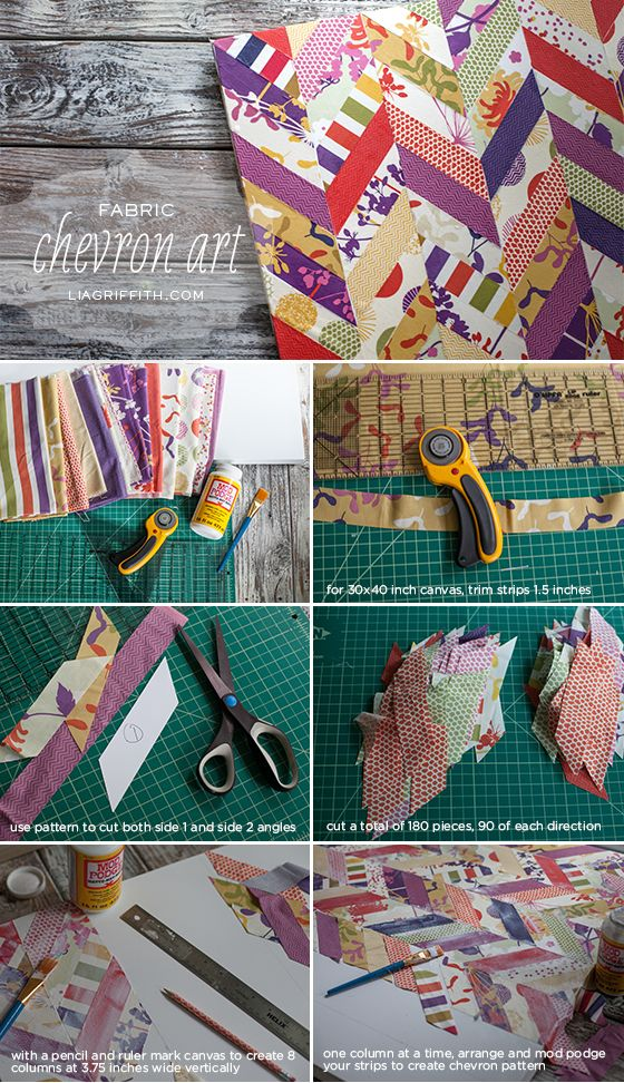 Chevron Art from Dear Stella Fabric and a Stretched Canvas
