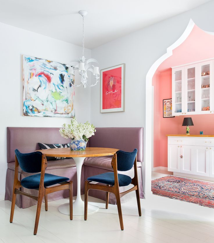 Colorful Breakfast Nook with Moroccan Architectural Doorway