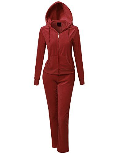 Women's Athletic Clothing Sets - MBE Womens Athletic Soft Velour Zip Up Hoodie Sweatpants Set -- See this great product.