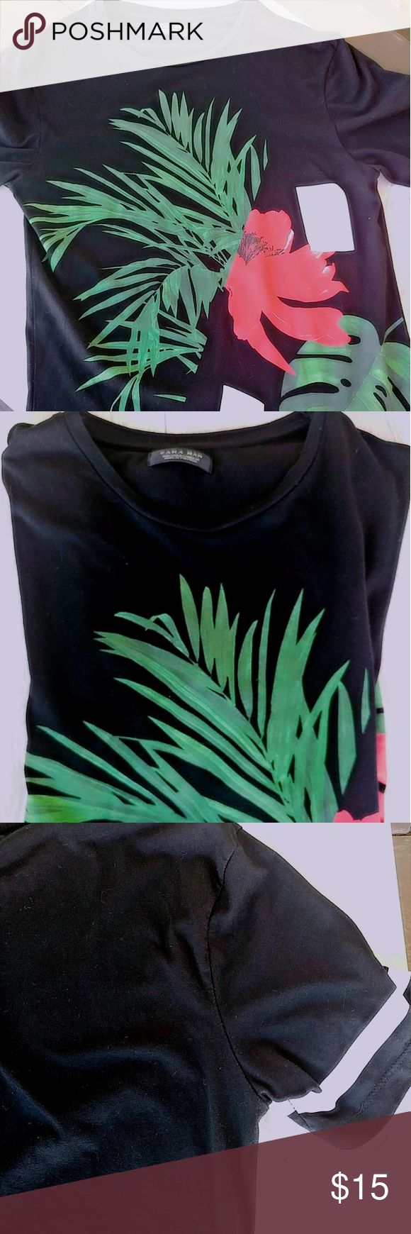 NEW ZARA FOR MEN FIT CUT PRINT TSHIRT IN BLACK BLACK ZARA FOR MEN FIT STYLE  SIZE MEDIUM BUT WILL BE BETTER FOR A SMALL SIZE  NEVER USED.  TAGS ARE GONE  BOUGHT IN ZARA MADRID.  EXELLENT SOFT QUALITY, VERY RICH LOOKING. Zara Shirts Tees - Short Sleeve