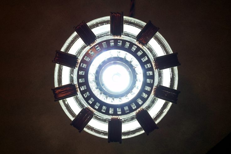 Ironman's arc reactor - MKII. This is a low-current LED-based replica made to look like the movie prop.
