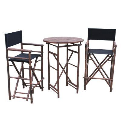 Zew Hand Crafted 3 Piece Round Folding Bamboo Bar Height Patio Dining Set Black - SET-16-0-02