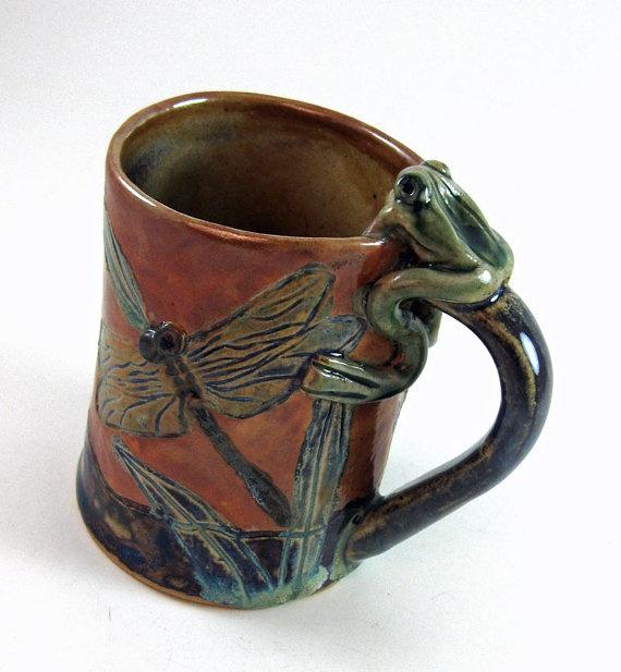 Frog and Cattail handbuilt stoneware mug