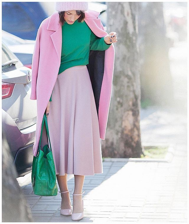 Think Pink!  And sometimes Green  too... | Все-таки, нежно-розовый - это самый весенний цвет! #ootdshare #stylegram #galantgirl #ellenagalant #еленагалант