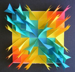 Collaborative paper sculpture using post-it-notes. Fold square in half, (sticky side together), fold back sticky side like a paper aeroplane, glue down.