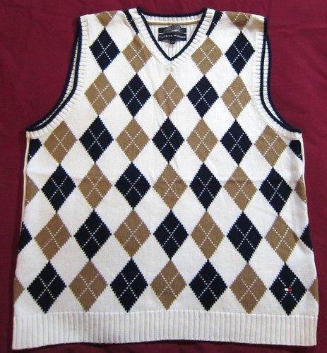 Tommy Hilfiger Mens Cotton Argyle Sweater Vest