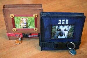 Use a dog collar for a fastener on a dog scrapbook! Cute!