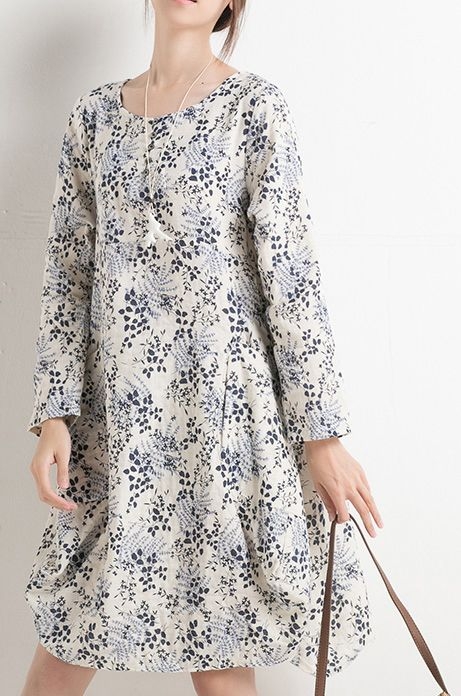 New print floral sundress long sleeve summer dresses spring cotton blouse shirt