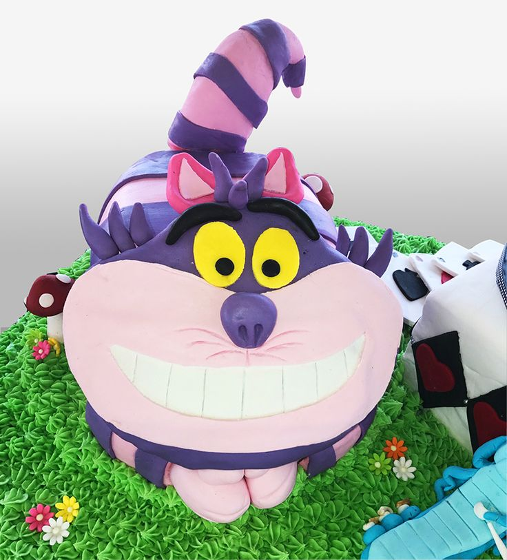 Mad Hatters Tea Party Cake - Cheshire Cat detail