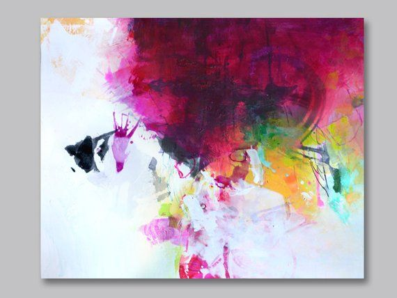 39c25de154216 Original abstract handpainted work of art on paper, acrylic painting ...